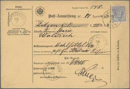 Österreich: 1885, Gebrauchtes Postanweisungsformular Mit Einzelfrankatur Doppeladler 10 Kr. Ultramar - 1850-1918 Imperium