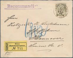 """Österreich: 1883, 20 Kr. Olivgrau/schwarz Auf R-Brief Von """"WIEN 15.7.90"""" Nach Hannover Mit Rs. Ankun - 1850-1918 Imperium"""