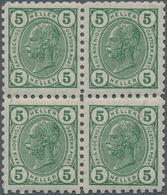 Österreich: 1906, Freimarken Kaiser Franz Joseph 5 H Im Postfrischen Viererblock Mit FRIEDLZÄHNUNG L - 1850-1918 Imperium