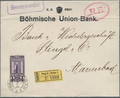 """Österreich: 1910, 1 Kr. Violet Ab """"PRAG 18.8.10"""" (Ersttag) A. R-Bankbrief Der K.K. Priv. Böhmische U - 1850-1918 Imperium"""