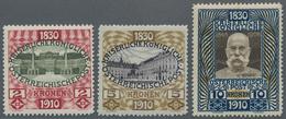 Österreich: 1910, Jubiläumsausgabe, 2 Kr.-10Kr., Die Drei Höchstwerte Ungebraucht Mit Originalgummi. - 1850-1918 Imperium