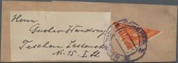 Österreich: 1919 (18.1.), Wappenausgabe 6 H. Orange Als DIAGONALE HALBIERUNG Auf Streifband Innerhal - 1850-1918 Imperium