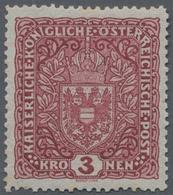 Österreich: 1916, Freimarke: Wappen 3 Kronen Dunkelbräunlichkarmin Im Format 26 X 29 Mm, Postfrisch, - 1850-1918 Imperium