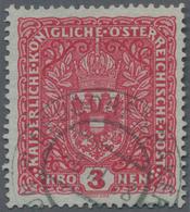 """Österreich: 1917, 3 Kreuzer Hellkarmin Im Breitformat 26 X 29 Mm, Sauber Gestempelt, """"echt Und Einwa - 1850-1918 Imperium"""