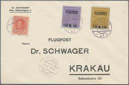 Österreich: 1918, 1.50 Bis 4 Kr Flugpost-Aufdruckmarken MiF Auf Zwei Briefen Von Wien Nach Krakau - 1850-1918 Imperium