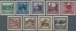 Österreich: 1923, 100 Kr Bis 600 Kr Landeshauptstädte Ungezähnt Und Postfrisch Ohne Gummi Wie Veraus - 1850-1918 Imperium