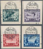 Österreich: 1933, FIS Wettkämpfe I, 4 Werte Auf Briefstücken Mit SST Von Innsbruck, Mi€ 350,- - 1850-1918 Imperium