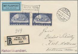 Österreich: 1933, WIPA, Beide Werte Auf Gewöhnlichem Und Faserpapier Auf Flugpost-Recobrief Mit Erst - 1850-1918 Imperium