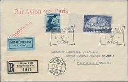 Österreich: 1933, WIPA, 50 G. Auf Faserpapier, Mit Zusatz 1 S. Flugpost, Beide Mit Entspr. SoSt. WIP - 1850-1918 Imperium