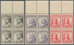 Österreich: 1934, Österreichische Baumeister Kompl. Satz In Viererblocks Vom Oberen Bogenrand, Postf - 1850-1918 Imperium