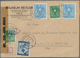 Österreich: 1945/1946, 2 X 5 Pf Dkl'grün Und 2 X 20 Pf Hellblau Wappen, Je Entwertet WIEN 56 A, 21.1 - 1850-1918 Imperium