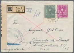 Österreich: 1945, 40 Pf Lila Und 42 Pf Graugrün 'Wappen', Portogerecht Frankiert Als Gebühr Für Eine - 1850-1918 Imperium