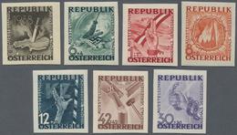 """Österreich: 1946, 2 G. - 1 S. Antifaschistische Ausstellung """"Niemals Vergessen"""", 7 Verschiedene Post - 1850-1918 Imperium"""