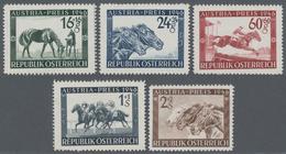 """Österreich: 1946, Pferderennen """"Austria-Preis"""", Kompletter Satz Von Fünf Werten Je Als Probedruck In - 1850-1918 Imperium"""