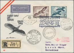 Österreich: 1953, Flugpost, Alle 4 Werte Auf Zwei Geflogenen Recobriefen Mit Ersttags-Sonderstempeln - 1850-1918 Imperium