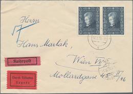 Österreich: 1956. Rohrpost-Eilboten-Brief Mit Waagrechten Paar 2.40 S Mozart Mit Wiener Rohrpost 7.3 - 1850-1918 Imperium
