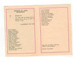 BEGIJNENDIJK  PAROCHIE  ST-LUCIA Plooiprentje (13x9 Cm) Met De Overledenen 1967-1968 - Godsdienst & Esoterisme