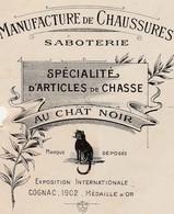 """Petite Facture 1920 / E. YVON & G. VERDIER / Saboterie Chaussures / """"Au Chat Noir""""/ 16 Cognac Charente - Frankrijk"""