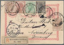 Rumänien - Ganzsachen: 1900, Postal Stationery Card 10b. Used Registered From Bucarest To Nuernberg, - Ganzsachen