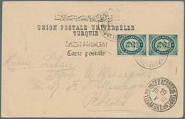"""Russische Post In Der Levante - Staatspost: 1900, 2 K. Green Vertical Pair Tied """"Konstantinopoli 18 - Levant"""