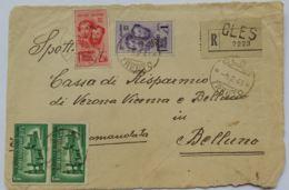 FRONTESPIZIO RSI 1945 1+2,50 F.BANDIERA +2X1,25 ESPRESSO TIMBRO CLES TRENTO (AX17 - 4. 1944-45 Repubblica Sociale
