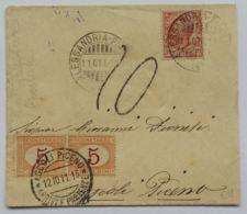 LETTERA 1911 10 C +2X5 SEGNATASSE TIMBRO ASOCLI PICENO ALESSANDRIA (AX59 - Marcophilie