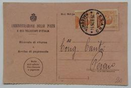 RICEVUTA RITORNO 1925 2X30 C. TIMBRO PESARO (AX156 - 1900-44 Victor Emmanuel III