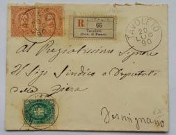 RACCOMANDATA 1890 5+2X20 C. TIMBRO TAVOLETO-FERMIGNANO (AX247 - 1878-00 Umberto I