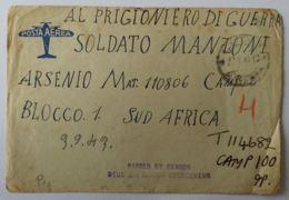 LETTERA 1943 DIRETTA SUD AFRICA PRIGIONIERO DI GUERRA (AX301 - 1900-44 Victor Emmanuel III