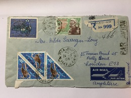 VIETNAM 1971 Air Mail Cover Registered Gia Dinh To London Stamps Front And Rear - Viêt-Nam