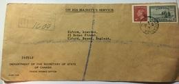 CANADA 1951 George VI OHMS Registered Cover Ottawa To England - 1937-1952 Regno Di George VI