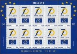 2019 , Moldova  , Moldavie , Moldau , 70th Anniversary Of The Council Of Europe , Sheetlet , MNH - Moldova