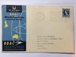GB 1957 BOAC Britannia First Flight Cover London Sydney - 1952-.... (Elizabeth II)