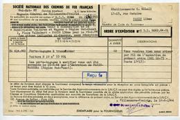Billet De Train - Ordre D'expédition SNCF - Lettre De Voiture - Villeneuve-Prairie - Villeneuve-Saint Georges - Frankrijk