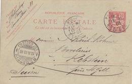 Entier 10c Mouchon Rose (335, 1902 D1) Obl. Paris 48 R. Ste Cécile Le 15-11-03 Pour Rebstein (Suisse) - Postwaardestukken