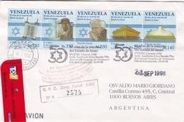 50 AÑOS DE LA CREACION DE ISRAEL. VENEZUELA FDC CIRCULATED 1998 TO BUENOS AIRES, ARGENTINA -LILHU - Judaisme