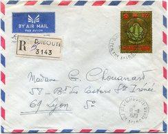 AFARS ET ISSAS LETTRE RECOMMANDEE PAR AVION DEPART DJIBOUTI 18-11-1970 TERR. FRs  AFARS-ISSAS POUR LA FRANCE - Afars Et Issas (1967-1977)