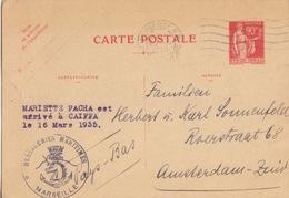 Entier 90c Paix Rouge (1932 E1) Obl. Flamme Marseille Le 20 III 1935 Pour Amsterdam + Messageries Maritimes Et M.Pacha - Entiers Postaux