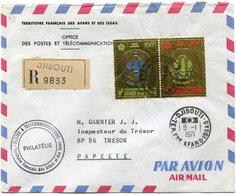 AFARS ET ISSAS LETTRE RECOMMANDEE PAR AVION DEPART DJIBOUTI 8-1-1971 TERR. FRs  AFARS-ISSAS POUR ILE TAHITI - Afars Et Issas (1967-1977)