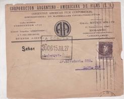 """CORPORACION ARGENTINO-AMERICANA DE FILM"" ARGENTINA COMMERCIAL COVER, CIRCULATED 1927 ROSARIO A SANTA FE.  -LILHU - Argentina"