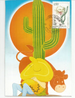 Timbre Cactus Vanille , Plante Succulente, Carte-maximum MONACO - Cactus