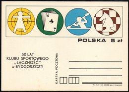 "POLAND 1984 - 50th ANNIVERSARY SPORT CLUB ""LACZNOSC"" OF BYDGOSZCZ - POSTAL STATIONARY - CHESS / CANOEING / ARCHERY - Scacchi"