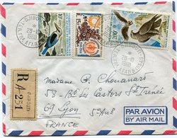 AFARS ET ISSAS LETTRE RECOMMANDEE PAR AVION DEPART DJIBOUTI 28-10-1968 TERR. FRs  AFARS-ISSAS POUR LA FRANCE - Afars Et Issas (1967-1977)