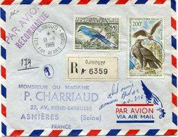 AFARS ET ISSAS LETTRE RECOMMANDEE PAR AVION DEPART DJIBOUTI 18-11-1969 TERR. FRs  AFARS-ISSAS POUR LA FRANCE - Afars Et Issas (1967-1977)