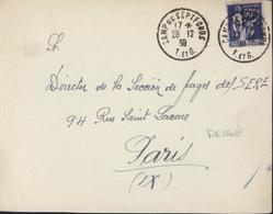Devant De Lettre Guerre D'Espagne Retirada YT FM N°10 CAD Camp Septfonds 28 12 39 Pour SERE S.E.R.E - Marcophilie (Lettres)