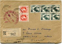 ALGERIE LETTRE RECOMMANDEE DEPART ALGER 6-7-1956 POUR LE CANADA AVEC ETIQUETTE DE DOUANE AU VERSO - Algeria (1924-1962)