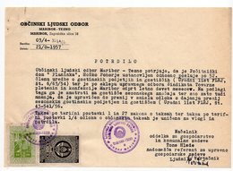 1957 YUGOSLAVIA, SLOVENIA,MARIBOR MUNICIPALITY REVENUE STAMP + YU STATE REVENUE - Slovenia