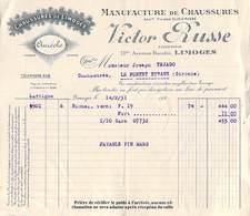 Facture De 1931 VICTOR RUSSE  87 LIMOGES Manufacture De Chaussures Marque Auréole à Téjado Le Pontet D'Eyrans*PRIX FIXE - Frankrijk