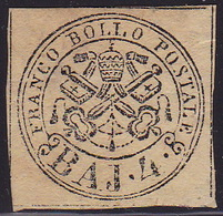 Papal State, 1852, 4 Baj, Mint, Without Gum, Creased, Minimally Thin, Dark Colour Shade - Kerkelijke Staten