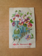 Ransart Carte Illustrée Gauffrée Train Et Fleurs  Circulée 1908 Cachet Jumet Ransart Printed In Germany - Belgium